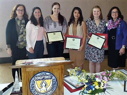 Pres. Elect Tamie Frasier, VP Teresa Zimny, 2nd place Live Your Dream winner Marlies Swanson, 1st place Live Your Dream winner Crizelle Edora, Violet Richardson winner Kharma Fisher and Pres. Cheryl Payan